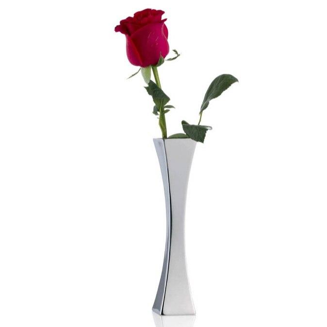 Europe style stainless steel square vase desktop flower bottle single metal vase home decor vase