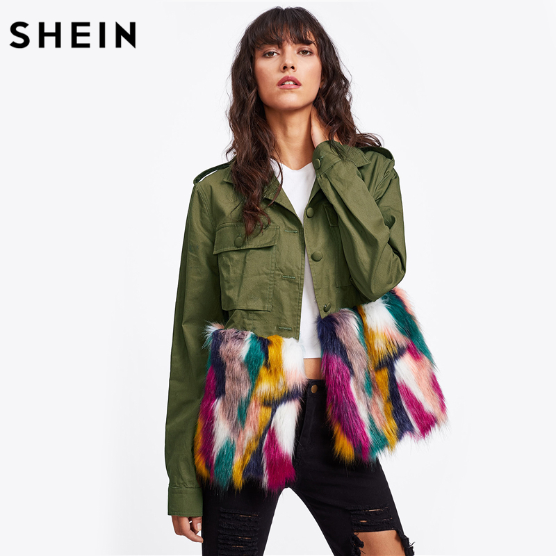 SHEIN Colorful Faux Fur Trim <font><b>Utility</b></font> Jacket Autumn Jacket Women Army <font><b>Green</b></font> Lapel Single Breasted Color Block Jacket