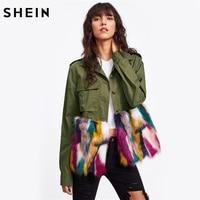SHEIN Kleurrijke Faux Fur Trim Utility Jacket Herfst Jas Vrouwen Legergroen Revers Enkele Breasted Kleurblok Jas