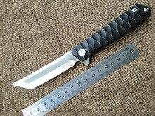 Nuevo al aire libre táctico cuchillo plegable lámina D2 TC4 titanium de la manija que acampa supervivencia de la caza cuchillos cojinete de bolas herramientas de mano
