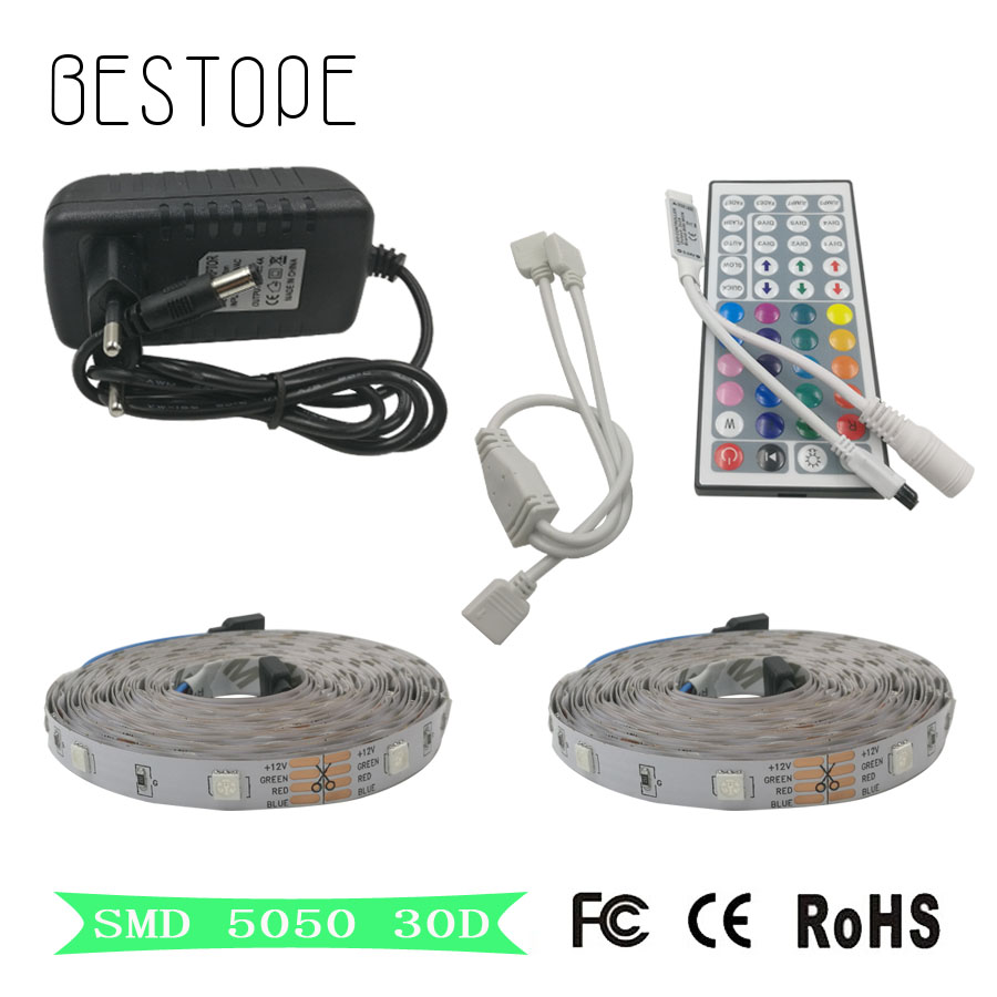 5M 10M 5050 RGB LED strip light non waterproof led light 10M flexible rgb diode led tape set+Remote Control+Power Adapter