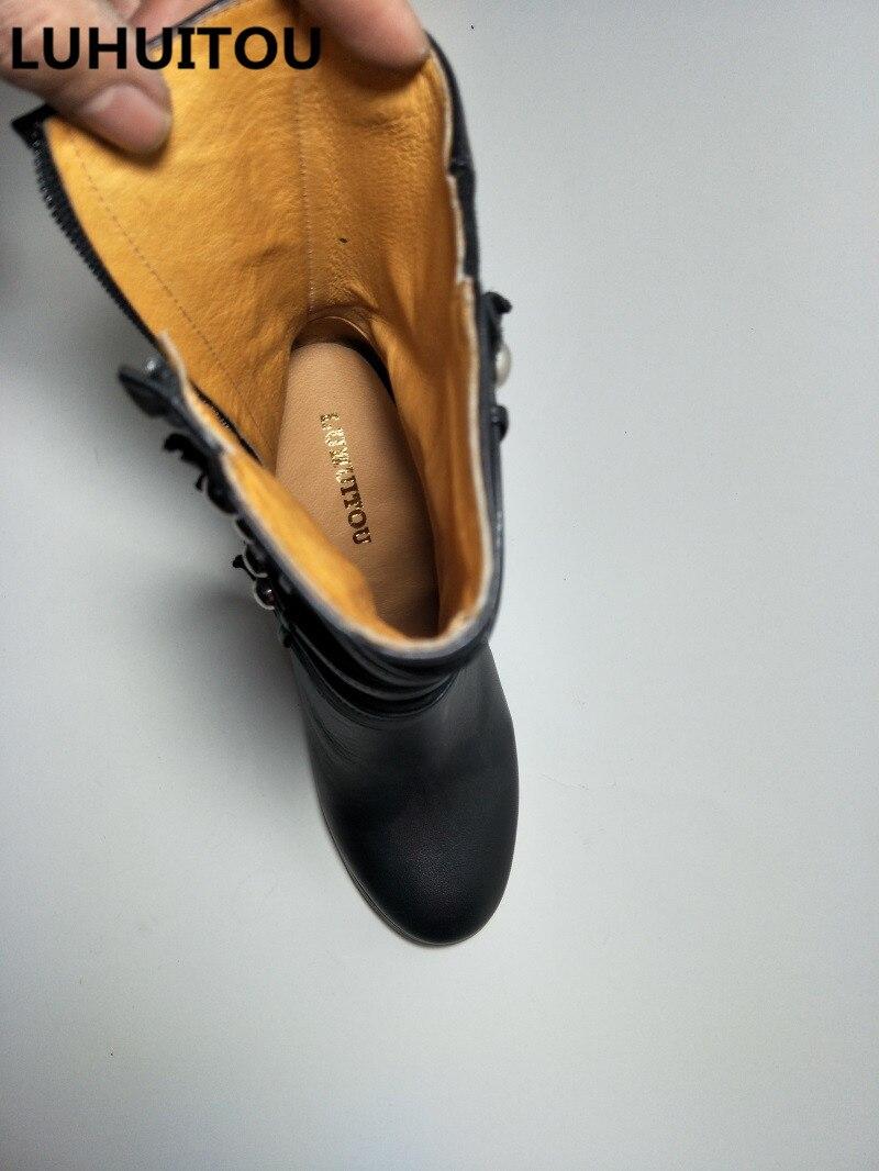 Hiver Bottes Black Femmes Cheville Gland Moto Véritable Chaussures En Cowboy Cuir De Printemps Casual Suede Qualité Rivet Fringe vrTdxrq
