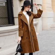 5ddd53caebc73 Winter Woman Shearling Coats Faux Suede Leather Jackets Outerwear Female  Double Breasted Long Faux Lambs Wool Coat DC192