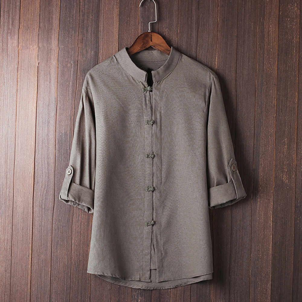 男性シャツ古典的な中国風のカンフーシャツトップス唐装 3/4 袖リネンブラウス人格 playeras デ hombre camisas 2019