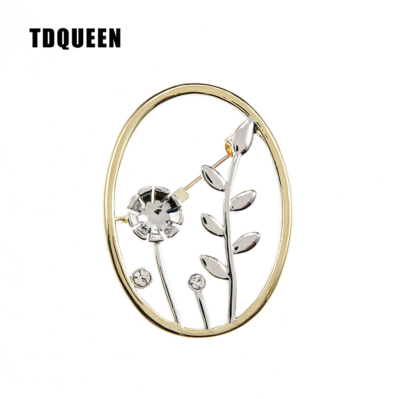 TDQUEEN Brooches Landscape Painting Pins and Brooches Gold-color Safety Pin Jewelry Round Metal Flower Brooch for Women
