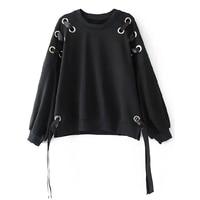 2017 New Fashion Hoodie Sweatshirt Black Women Winter Hollow Ribbon Long Sleeve Loose Pullover Tops for Girls Hoodies Sweatshirt