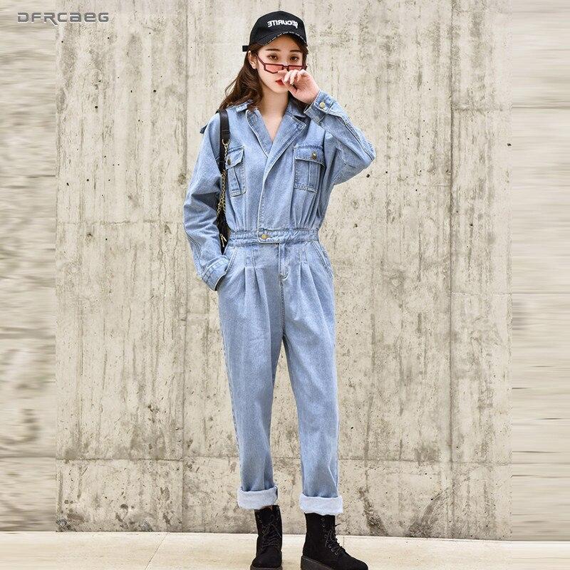 Bleu élégant BF Streetwear femmes Denim combinaison pantalon 2019 automne à manches longues taille haute rétro Jeans salopette barboteuses femme