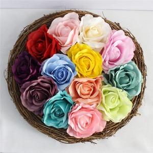 Image 3 - DIY 인공 장미 꽃 머리 실크 장식 꽃 호텔 배경 도로 주도 결혼식 꽃 벽 재료 머리 100 개/몫