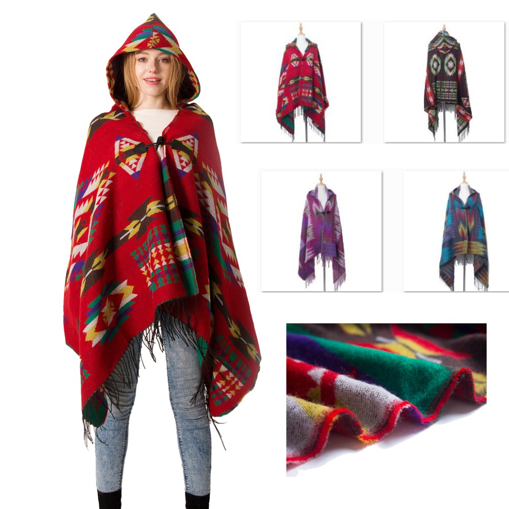 Fashion Winter Poncho Feminino Inverno with Cap Boho Bohemian Soft Blanket Oversized Fringed   Scarf     Wraps   Shawl