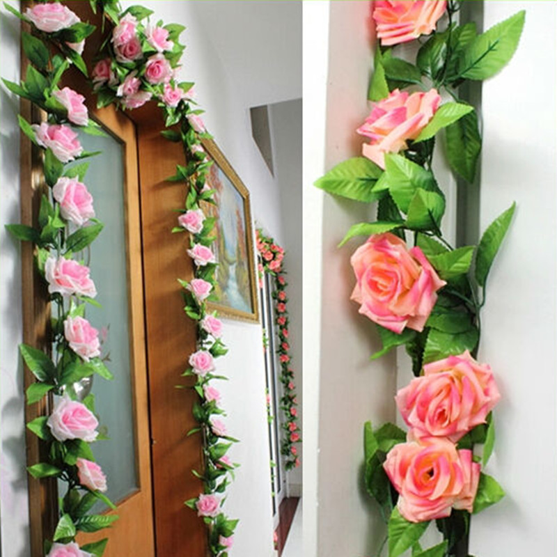 Artificial flowers silk rose vines for a wedding home party artificial flowers silk rose vines for a wedding home party decoration real touch christmas flower 240cm plastic plant vine in artificial dried flowers junglespirit Image collections