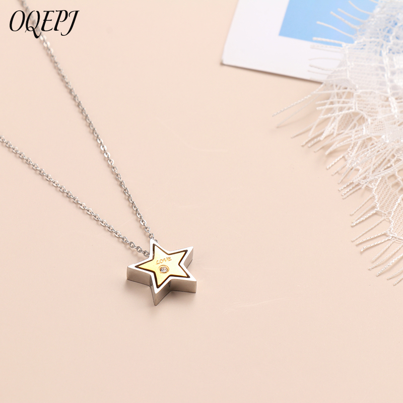 OQEPJ Cute Romantic Five Stars ZC LOVE Necklaces Pendant 316L Stainless Steel Black Silver Gold color Jewelry For Women Gift in Pendant Necklaces from Jewelry Accessories