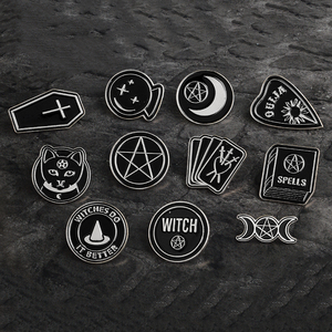 Halloween Party Accessories Punk Dark Black Ouija Moon dagger heart crystal ball spells witches coffin Enamel lapel pin Badge(China)
