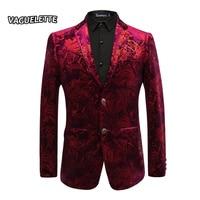 Burgundy Red Floral Blazer Men Print Paisley Pattern Wedding Stage Suit Jacket Royal Blue Velvet Blazer Slim Fit Plus Size M 4XL