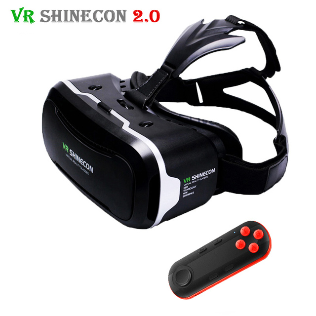 2017 VR Shinecon 2.0 3D Glasses Virtual Reality Smartphone Headset Google Cardboard VRBOX Helmet for Iphone Android 4.7-6′ Phone