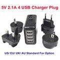 BrankBass Viagens Universal 4 USB Adaptador de Carregador de Tomada de parede Elétrica Soquete EUA/REINO UNIDO/UE/UA Internacional Rápido adaptador de carregamento