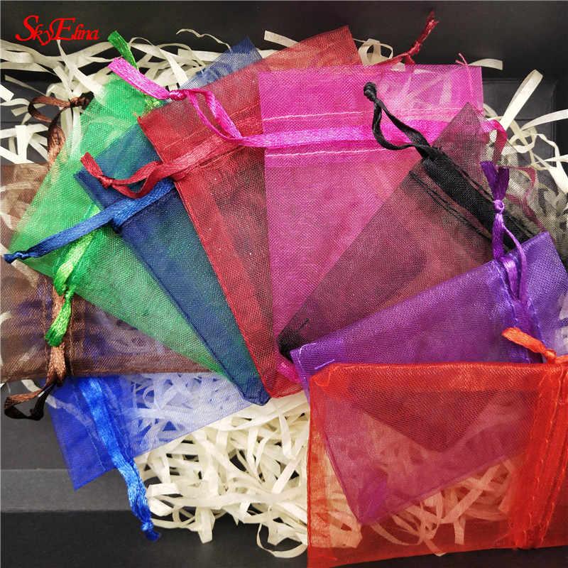 50 Uds. Tul bolsa de organza para boda fiesta decoración bolsa de regalo embalaje bolsa de hilo Eugen 6x8 8x11 10x15 12x17 19x29cm6z