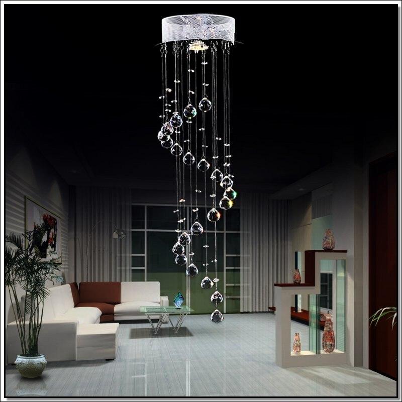 Modern LED K9 Crystal Spiral Chandelier Lighting For Dining Room Kitchen Restaurant Flush Mount Light Fixture Hanging Lamp