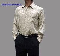 100% natuurlijke zijde mannelijke lange mouw, 19 momme van pure zijde mannen shirt, 100% zijde jacquard casual shirt, pure zijde shirts