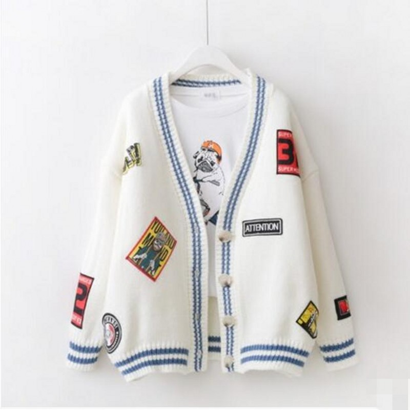 2017 New Spring Autumn font b Women b font Sweaters Embroidery Cardigans Full Sleeve V neck