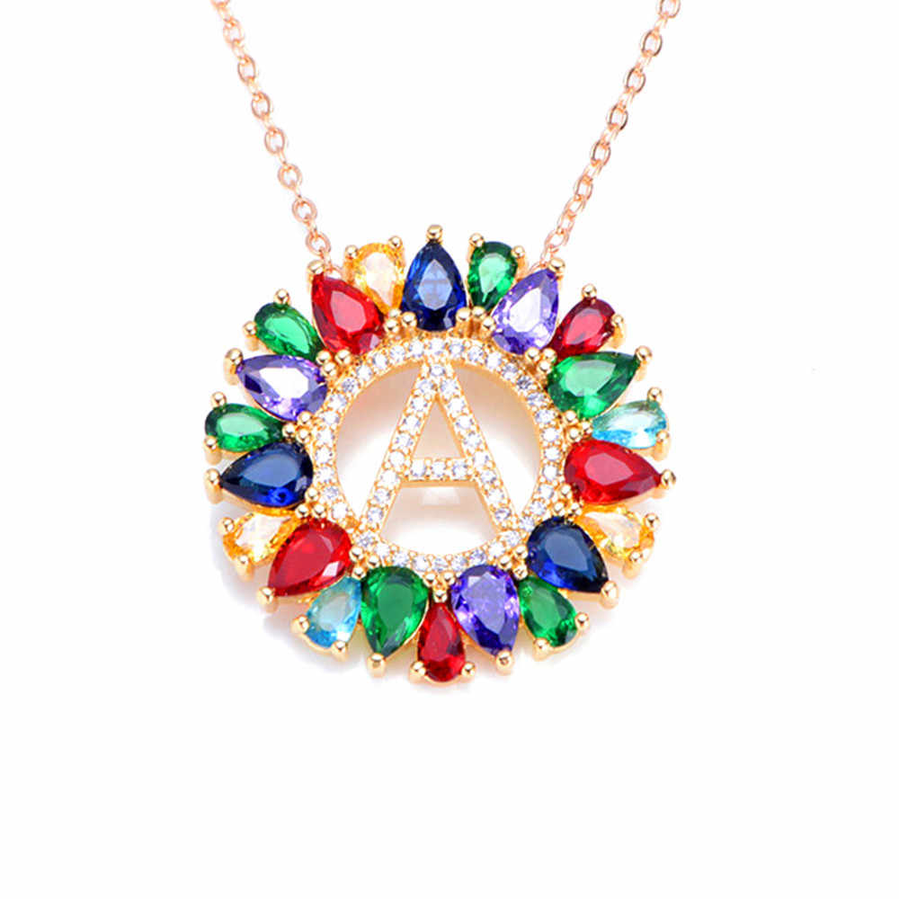 Women 26 Alphabe Letter Necklaces Multicolor CZ Micro Pave Zircon Charm Initial Necklace Fashion Gold Letter Pendant Necklace