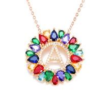 multicolor CZ micro pave zircon charm necklace fashion Gold 26 Alphabet letter pendant necklace letter necklaces