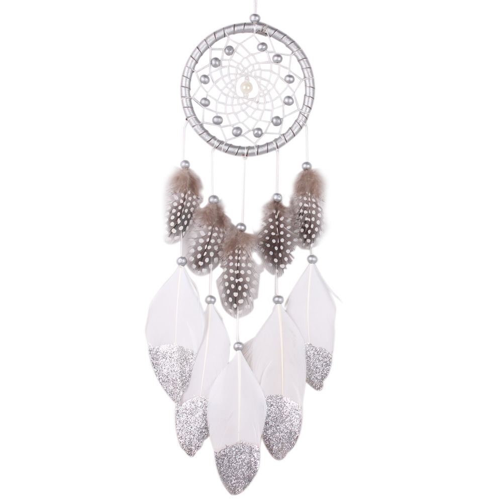 Handgjorda Silverpärla Dream Catcher Wind Chimes Indiska Style Fjäderhänge Dreamcatcher Creative Car Hanging Decoration