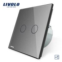 Manufacturer Livolo EU Standard Touch Switch 2 Gang 2 Way Control Wall Light Switch VL C702S