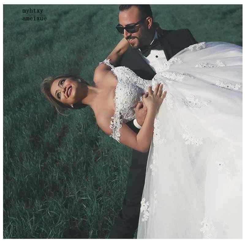 Vestido de noiva clássico do laço apliques vestido de noiva 2019 sem costas zíper branco/lvory vestidos vestido longo trem de noiva sexy
