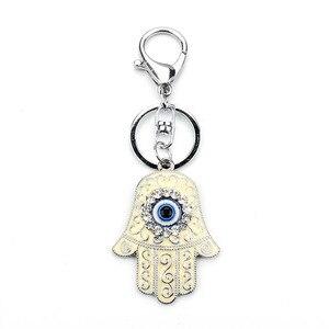 Брелок в виде руки Lucky Eye, брелок в виде руки, синий, белый, злой брелок для ключей в форме глаза, омаров с пряжкой, подвеска с масляной подвеской, украшения для мужчин и женщин, EY157
