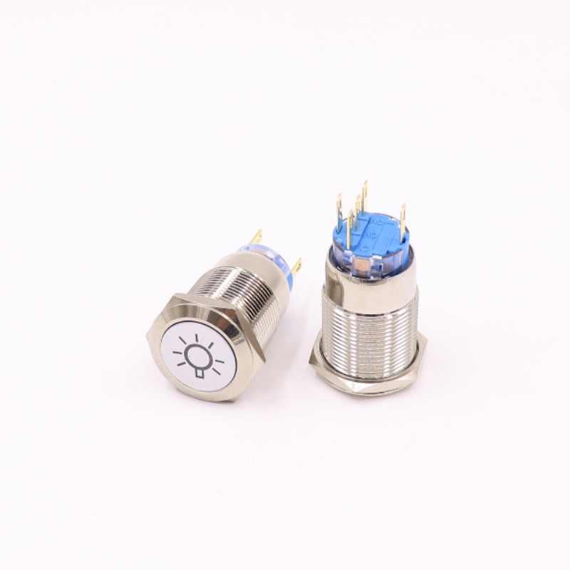 19mm מתכת לדחוף כפתור מתג LED טבעת את עיני מלאך נעילת נעילה עצמי איפוס רגעי 1NO 1NC אדום כחול צהוב ירוק לבן