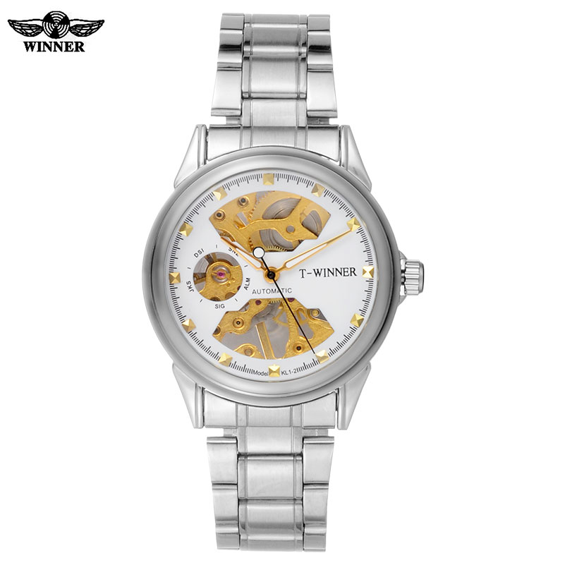 men mechanical watches skeleton watches WINNER brand business hand wind wristwatches for men stainless steel band gift clock