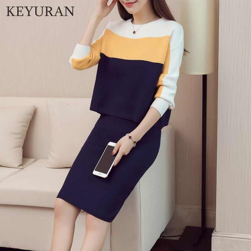 Fashion Women Kintting Tops+Skirts Suits Two Pieces Set 2019 New Slim Patchwork Knitted Sweater Skirt Set Women Clothing Autumn