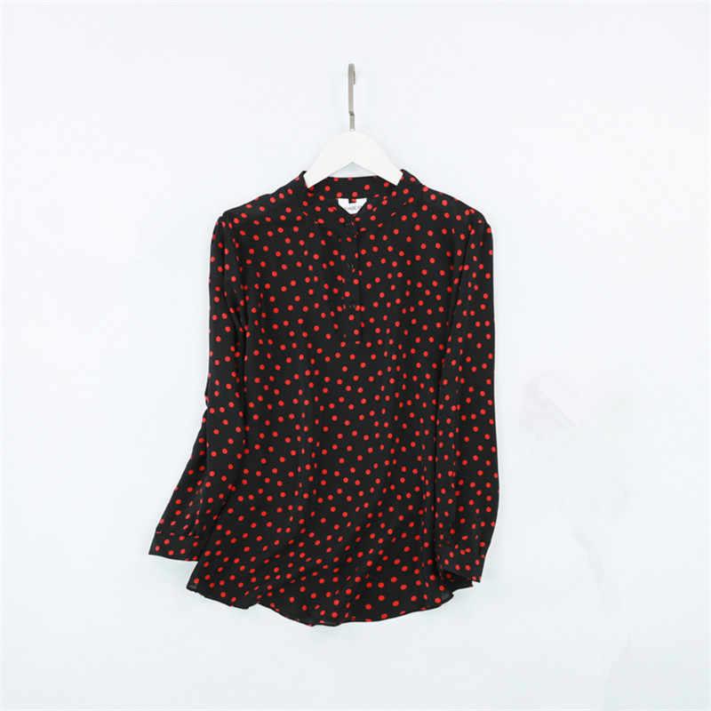519ab343cc ... Women Autumn 100% Natural Silk Dits Blouse Real Silk Long Sleeve Basic Shirt  OL Black ...