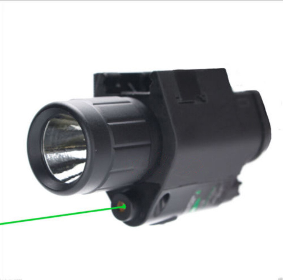 2 in 1 Combo Tactical Pulsed Green Laser Sight with 200LM LED Q5 Flashlight for Hunting Rifle and Pistol Glock 17   19 22-3