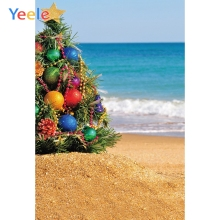 Yeele Seaside Beach Photography Backdrops Christmas Balls Tree Wedding Professional Photographic Backgrounds For Photo Studio