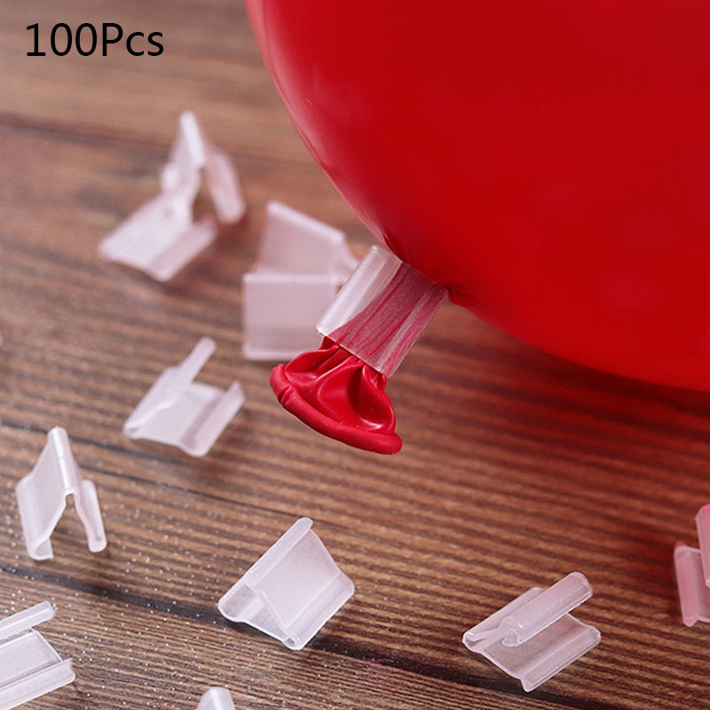 100pcs Clear Balloons Clip Helium Balloon Clip Wedding Birthday Party Decoration Balloons Accessory Event Party Supplies