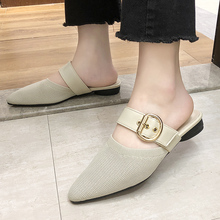 Summer New Fashion Stretch Mesh Flat Mules Women Shoes Lady Outdoor Slippers Soft Comfort Point Toe Low Heel Strap Sandals 2019