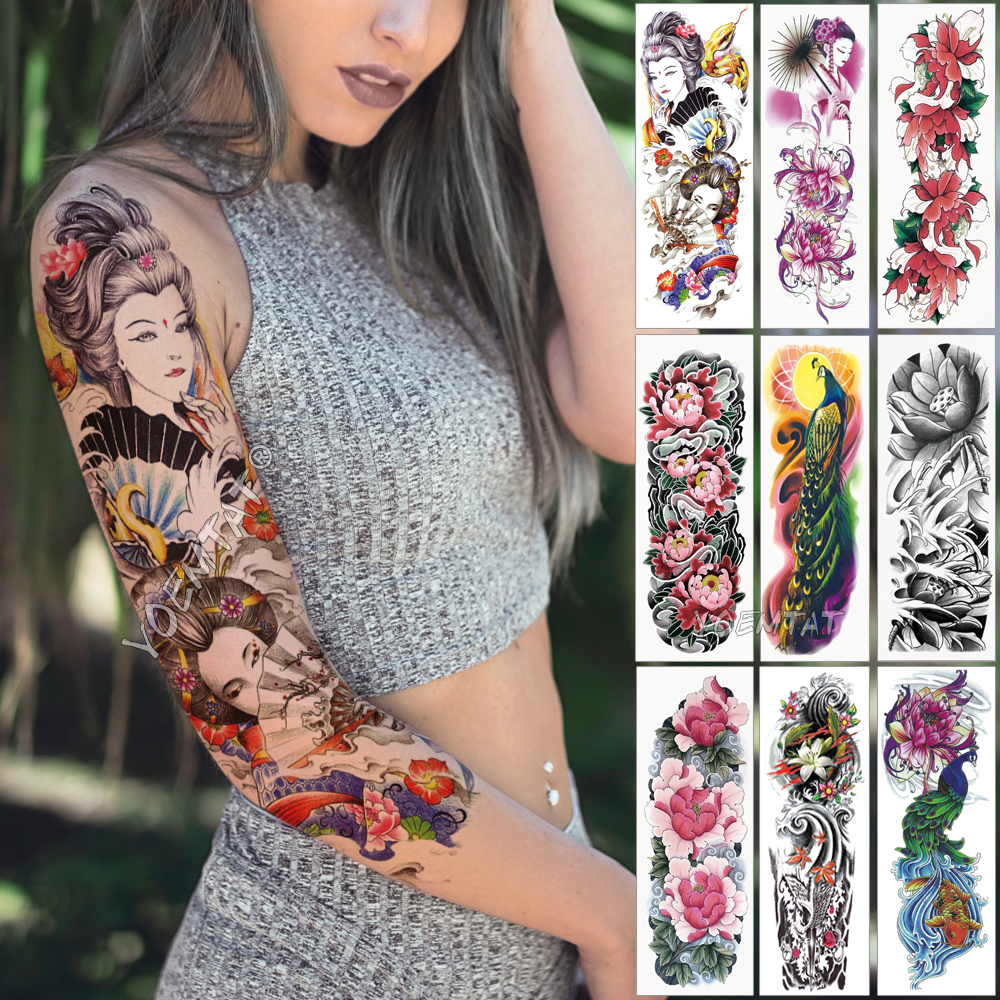 Large Arm Sleeve Tattoo Japanese Geisha Snake Waterproof Temporary Tatto Sticker Lotus Peacock Girl Tatoo Body Art Women