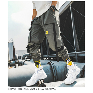 Image 3 - Privathinker hommes Hip Hop ceinture Cargo pantalon 2020 homme Patchwork salopette japonais Streetwear Joggers pantalon hommes design sarouel