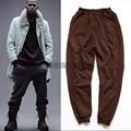 Hot 2017 Recién Llegado de Kanye West Yeezy Style1: 1 Pantalones Pantalones Yeezus HipHop Cremallera Pantalones Casuales Kpop Marca Tag