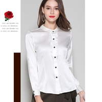 Long Sleeve Silk Blouse Beige White Red Girl's Casual Solid blouse High Quality Clothing Free Shipping HOT Selling