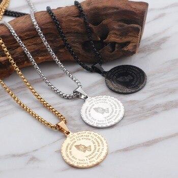 Collar dorado de acero inoxidable con colgante de manos para rezar para hombres y mujeres, caja negra de 50cm, collar de cadena, joyería de oración