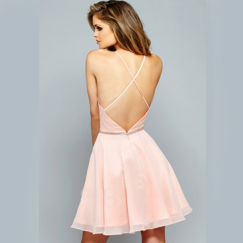 Simple sexy 2015 summer new cocktail dress halter backless beaded ...