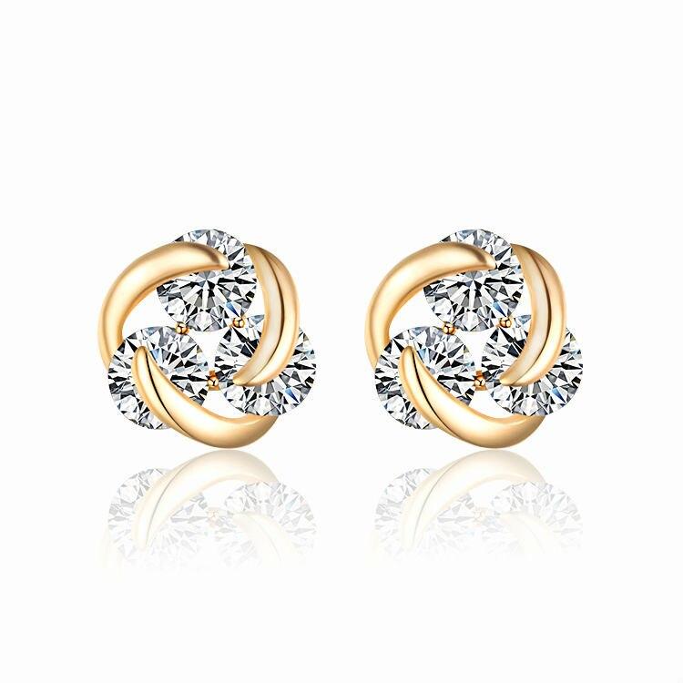 New 18KGP Stud Earrings For Women Crystal CZ Zircons Brinco Argola Gold Color Pierced Earring Fashion Jewelry 28E1172
