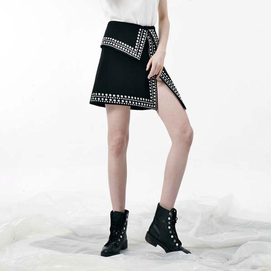 Patrón Negro Cintura Llegada La Alta Horquilla Estilo Moda Sexy Falda Las Nueva Mini Calidad Remache Mujeres 2019 De COnx685