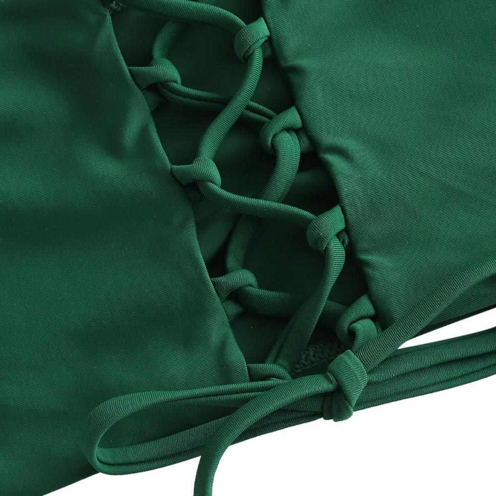 Новый простой бикини однотонного цвета с пуш-ап, сексуальный купальник с низкой талией для пляжа, женский летний бразильский купальник со шнуровкой