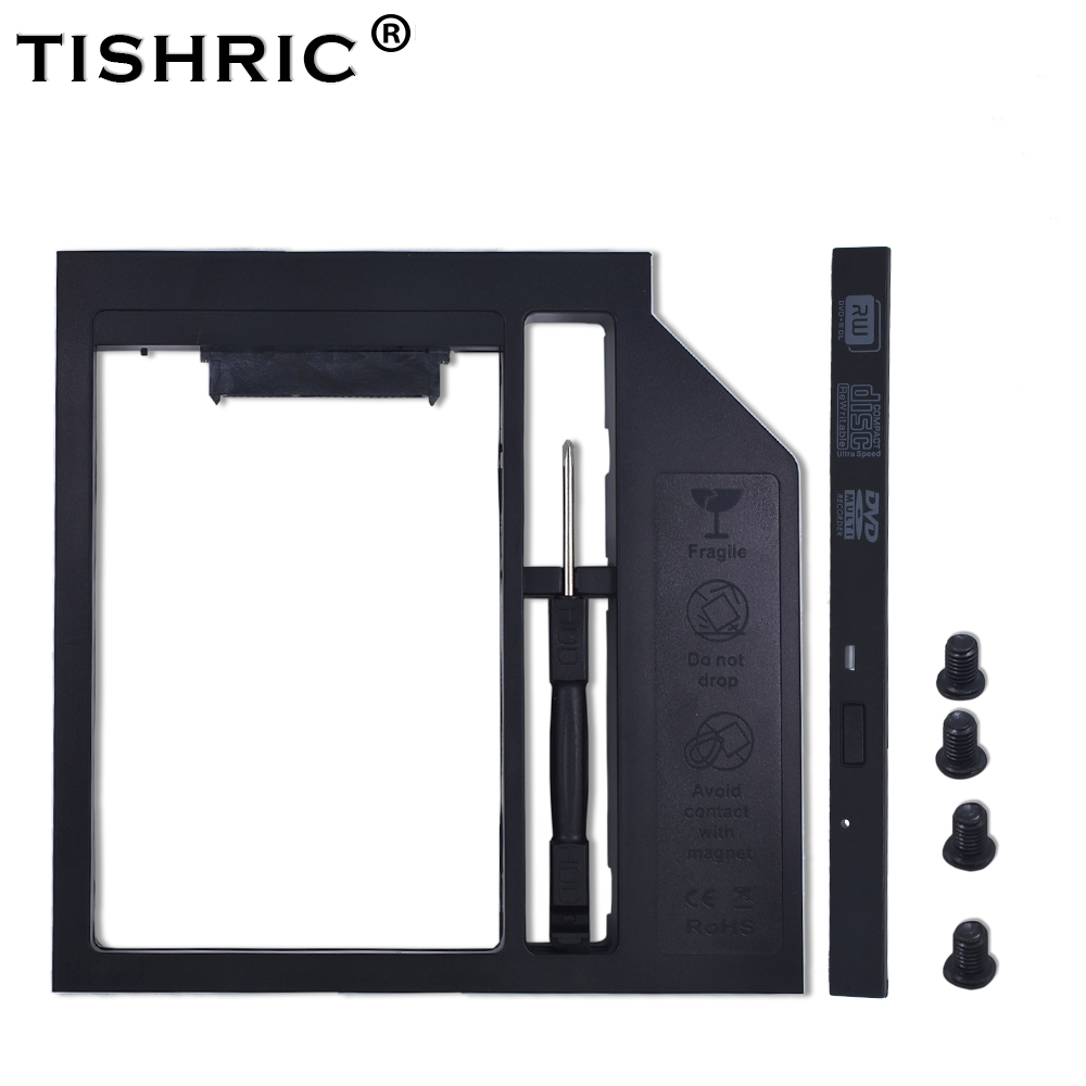 TISHRIC Plastic 2nd HDD Caddy 9.5mm SATA 3.0 Optibay Hard Disk Drive Box Enclosure 2.5 SSD Case DVD Adapter For Laptop CD-ROM