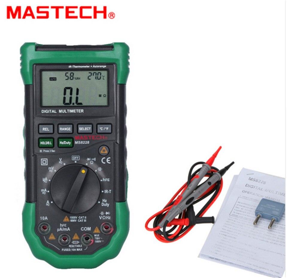 цена Hot MASTECH MS8228 Auto Range 4000 Counts Digital Multimeter Multifunctional Infrared Thermometer Environmental Hygrome