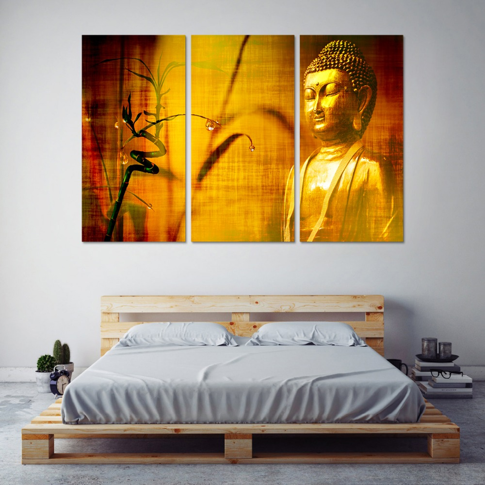 Framed HD Print 3 pcs Golden yellow buddha canvas wall art painting ...