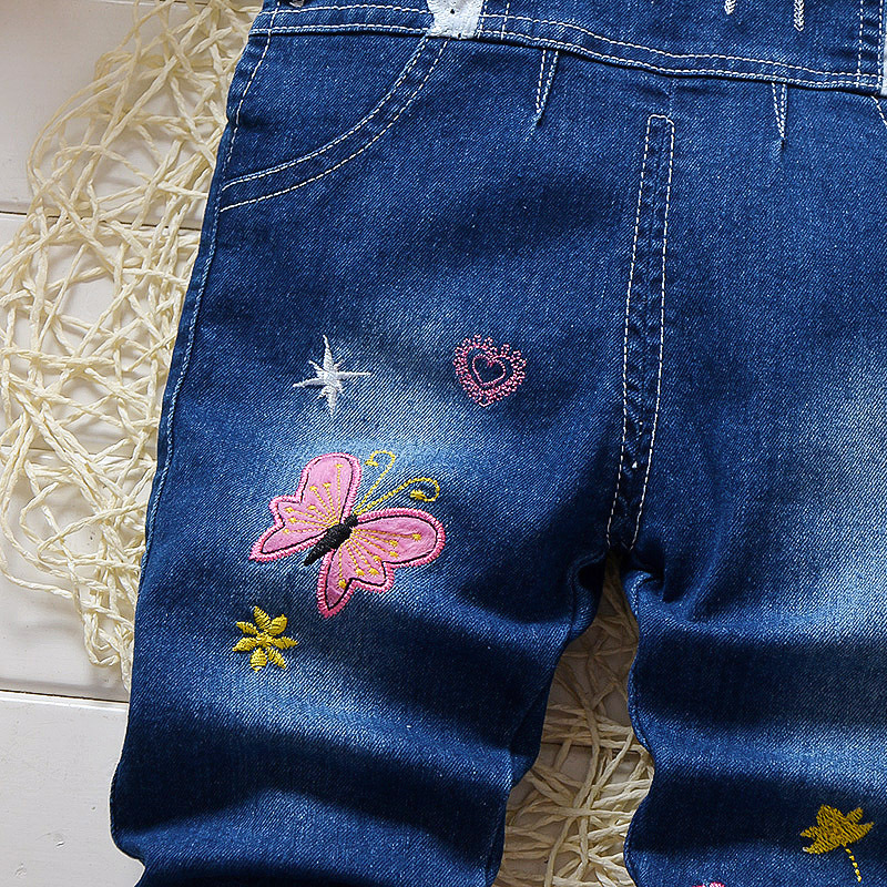 DIIMUU Infant Toddler Baby Girls Overalls Clothing Bow knot Printing Jeans Pants Denim Cotton Casual Trousers Suspender Pants in Overalls from Mother Kids